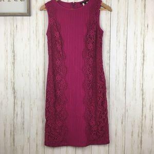 Tadashi Shoji Lace Blocked Paneled Pintuck Dress